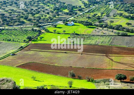 Fields in the Monsaraz region, Alentejo, Portugal - Stock Photo