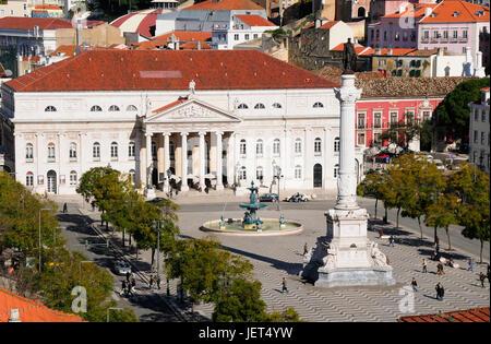 Rossio, the main square in Lisbon. Portugal - Stock Photo