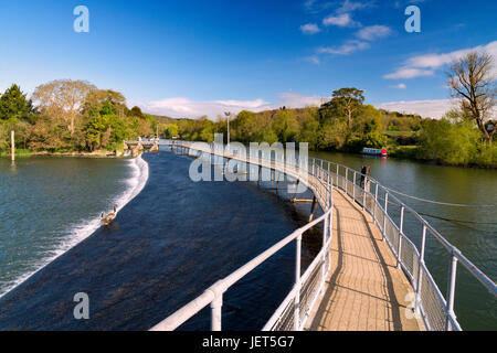 Walkway over the weir at Marsh Lock, Hambleden, Henley-on-Thames - Stock Photo
