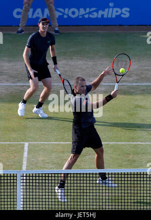 Britain's Jamie Murray and Brazilian Bruno Soares during the Men's tennis doubles final at the Aegon Championships - Stock Photo