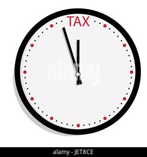 Vector illustration tax time concept. Wall clock icon isolated on white background. Taxation - Stock Photo