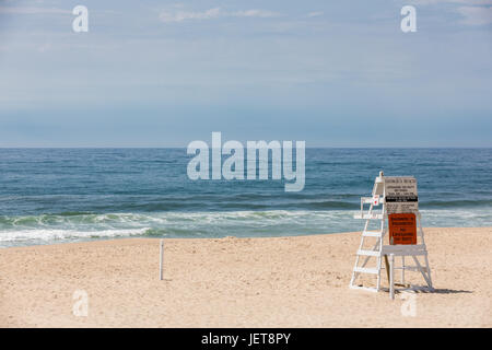 empty life guard stand at Georgica Beach, East Hampton, NY - Stock Photo