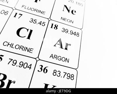 Symbol For The Chemical Element Argon Stock Photo 59910467 Alamy