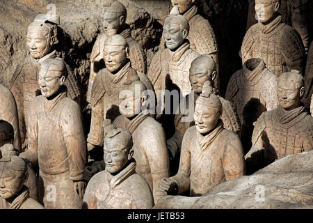 The world famous Terracotta Army, part of the Mausoleum of the First Qin Emperor and a UNESCO World Heritage Site - Stock Photo