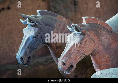 Horses from the world famous Terracotta Army, part of the Mausoleum of the First Qin Emperor and a UNESCO World - Stock Photo