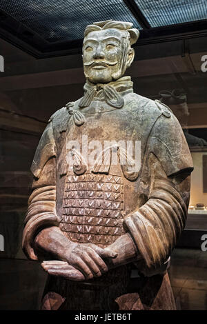 One of eight generals unearthed of the world famous Terracotta Army, part of the Mausoleum of the First Qin Emperor - Stock Photo