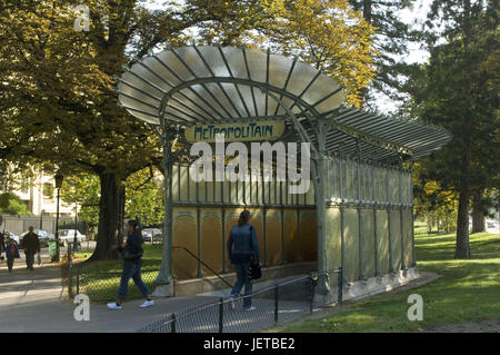 France, Paris, subway station, Porte Dauphine, input, pedestrian, - Stock Photo
