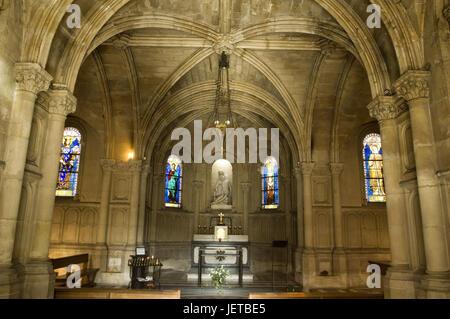 France, Paris, Chapelle Notre-Dame-de-la-Compassion, altar, inside, - Stock Photo