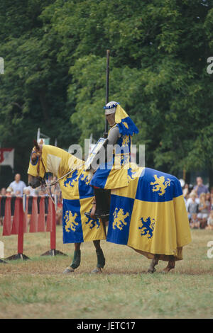 Germany, Lower Saxony, Bueckeburg, Medievally Spectaculum, knight's tournament, bleed, Weser mountainous country, - Stock Photo