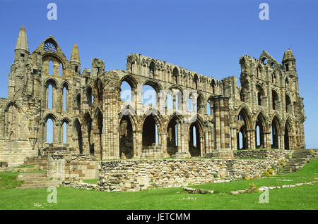 Great Britain, England, North Yorkshire, Whitby, Whitby Abbey, ruin, Europe, destination, place of interest, tourism, - Stock Photo