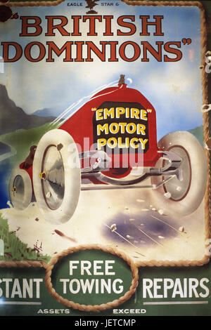 Metal sign, advertisement, car, 'British Dominions', no property release, Great Britain, England, Durham, Beamish, - Stock Photo