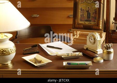 Study desk, elegantly, desk, drawers, woodwork, desk lamp, lamp, lighting, porcelain clock, fountain pen, stapler, - Stock Photo