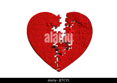 Jigsaw puzzle, heart form, red, tore, - Stock Photo