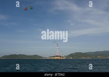 Gondola connects the Vietnamese mainland with the island Honing Tre, Nha Trang, Vietnam, - Stock Photo