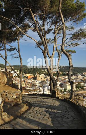 Spain, Catalonia, Costa Brava, Tossa de Mar, view at the town, - Stock Photo