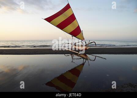 Asia, Indonesia, Bali, Lovina Beach, sailboats on the beach, - Stock Photo