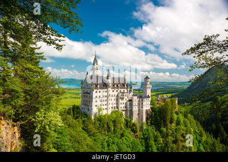 Neuschwanstein, Lovely Autumn Landscape Panorama Picture of the fairy tale castle near Munich in Bavaria, Germany - Stock Photo