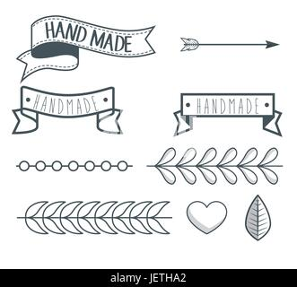 vintage hand made logotypes and labels - Stock Photo