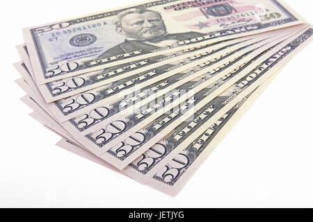 Several 50 dollar notes, fields, fanned out, Mehrere 50 Dollarscheine , Fächer, aufgefächert - Stock Photo