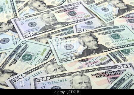 Several 50 and 20 dollar notes, Mehrere 50 und 20 Dollarscheine - Stock Photo