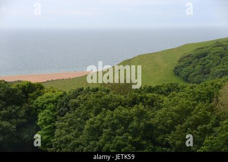 Viiew from St. Catherine's Chapel in Abbotsbury to the Sea on June thirteenth 2016 | usage worldwide - Stock Photo