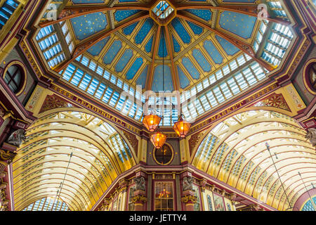Ornate Ceiling, Leadenhall Market, London, UK - Stock Photo