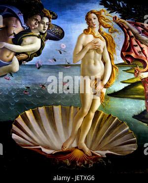 The Birt of Venus 1485 Sandro Botticelli  ( Alessandro di Mariano Filipepi ) 1445-1510 Florence Italian painter Florentine school Early Renaissance.