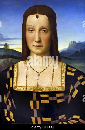 Elisabetta Gonzaga 1503 by Raphael  - Raffaello Sanzio da Urbino 1483 –1520 was an Italian painter and architect - Stock Photo