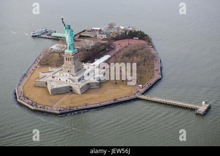 Aerial View of Liberty Island New York - Stock Photo