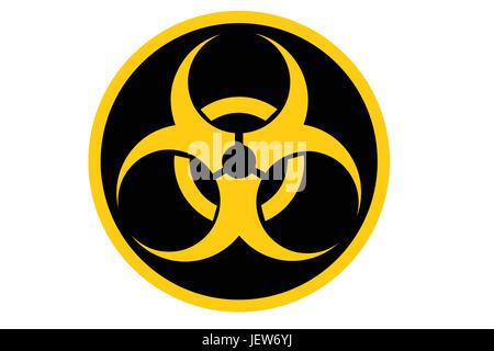 biohazard symbol isolated on white - Stock Photo