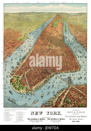 Old aerial view of New York. By J.M. Williams. Publ. Root & Tinker, New York, 1879 - Stock Photo