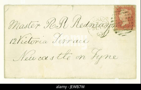 Original Victorian envelope for letter posted  from London to Newcastle on Tyne, postmarked February 1863, with - Stock Photo