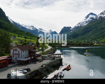 Small pleasant Olden village located at mouth of Oldeelva river  northern end of  Oldedalen valley on the southern - Stock Photo