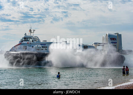 Solent Flyer departing Portsmouth & Southsea Hovercraft Terminal, UK on the 26th June 2017. - Stock Photo