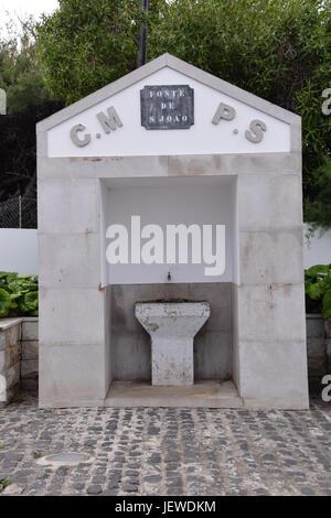 Fonte de Joao drinking fountain in the main town of Vila Baleira, Porto Santo, Portugal - Stock Photo