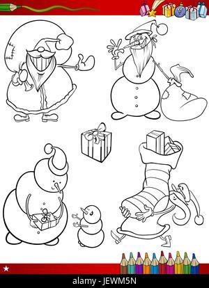 illustration, christmas, snowman, page, bookpage, cartoon, xmas, x-mas, laugh, - Stock Photo