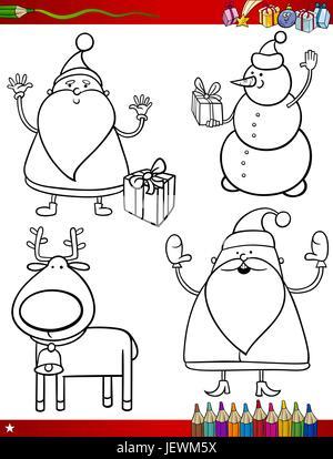 illustration, christmas, snowman, page, bookpage, cartoon, xmas, x-mas, santa, - Stock Photo