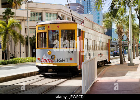 American streetcar in downtown Tampa Florida USA - Stock Photo