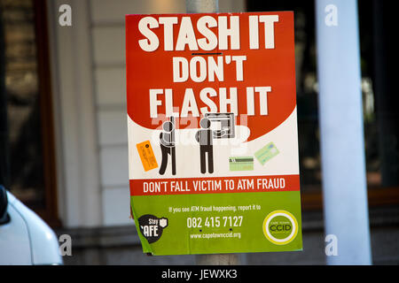 Theft warnings in Cape Town, South Africa - Stock Photo