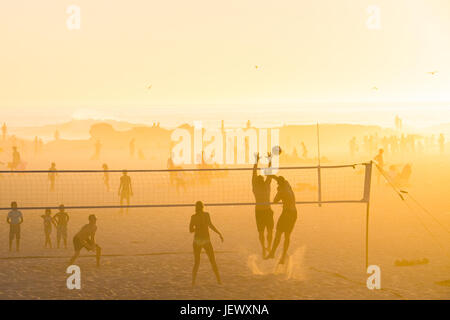 Beach Volleyball, Camps Bay Beach, Cape Town, South Africa - Stock Photo