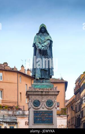 bronze statue of Giordano Bruno in Rome - Stock Photo