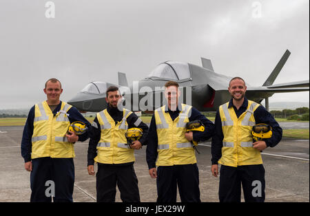 Official Media Assignment at RNAS Culdrose, Helston, Cornwall, UK. 27th June, 2017. Four Aircraft Handlers from - Stock Photo