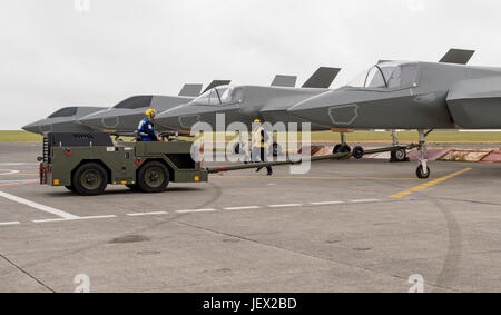 Official Media Assignment at RNAS Culdrose, Helston, Cornwall, UK. 27th June, 2017. Aircraft Handlers manouvre the - Stock Photo