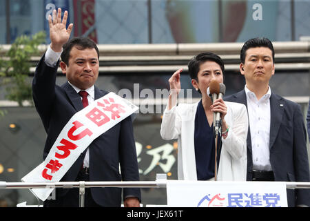 Tokyo, Japan. 28th June, 2017. Renho (2nd R), leader of Japan's main opposition Democratic Party delivers a campaign - Stock Photo