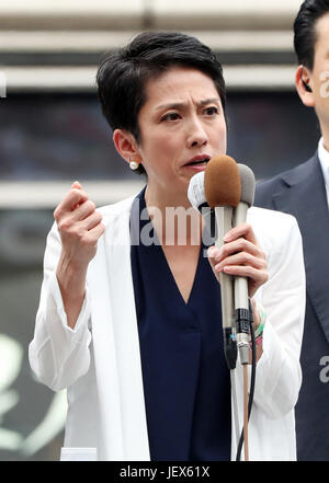 Tokyo, Japan. 28th June, 2017. Renho, leader of Japan's main opposition Democratic Party delivers a campaign speech - Stock Photo