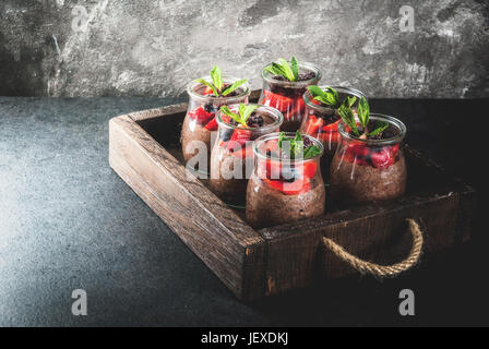 Healthy vegan breakfast. Dessert. Alternative food. Pudding with chia seeds, fresh strawberries, blackberries and - Stock Photo