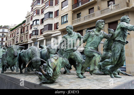 Encierro Statue Bull running monument statue in the streets in Pamplona in Northern Spain - Stock Photo
