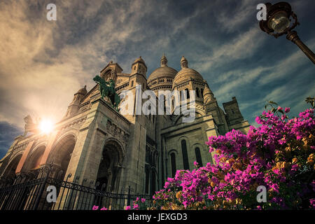 Sacre Coeur basilica in Montmartre Paris - Stock Photo