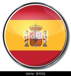 spain, flag, button, madrid, spaniard, kingdom, hispanic, spanish, euro, - Stock Photo