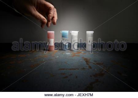 In the search for Leonardo Da Vinci's Battle of Anghiari, pigment samples similar to those used by Leonardo da Vinci, - Stock Photo